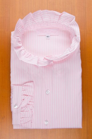 RUFFLE COLLAR , MIDDLE STRIPES PINK/WHITE