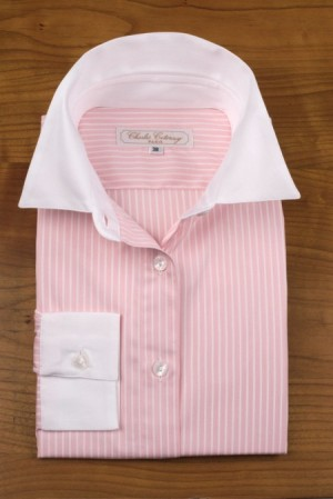 WHITE COLLAR, PINK AND WHITE STRIPES