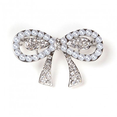 SILVER KNOT WITH PEARLS & STRASS
