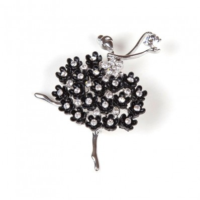 DANCER WITH STRASS & BLACK FLOWERS