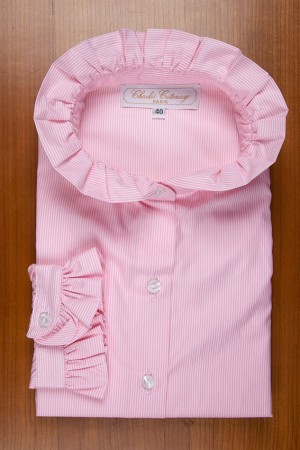 RUFFLE COLLAR, PINK AND WHITE STRIPES