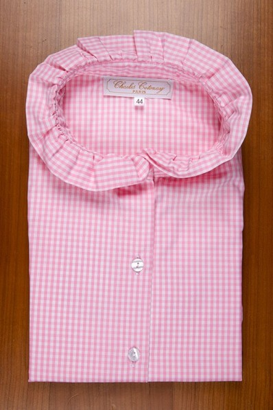RUFFLE COLLAR WITHOUT SLEEVES, PINK VICHY