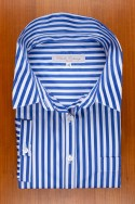 DRESS BLUE STRIPES IN COTTON SATIN