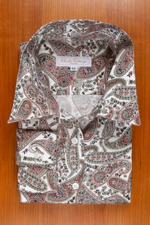 THIN FLANELL, PAISLEY IN GREY AND PINK