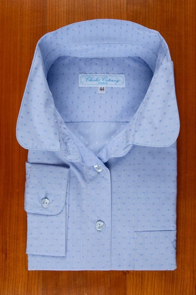 ROUND COLLAR, SMALL DOTS WOVEN