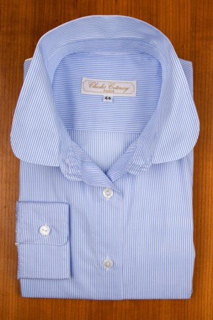 ROUND COLLAR, BLUE STRIPES
