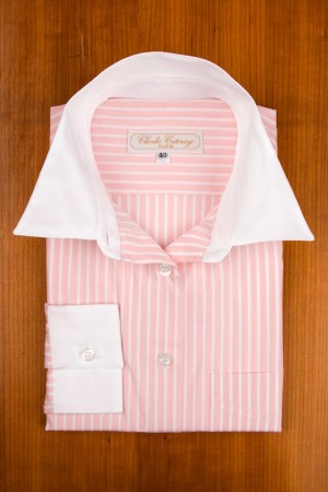 WHITE COLLAR ON PINK AND WHITE STRIPES