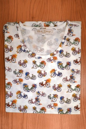 TEE SHIRT, COTTON JERSEY, BICYCLES ON WHITE
