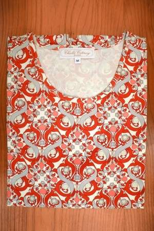 TEE SHIRT LIBERTY, ARABESQUES AND HEARTS RED/GRAY