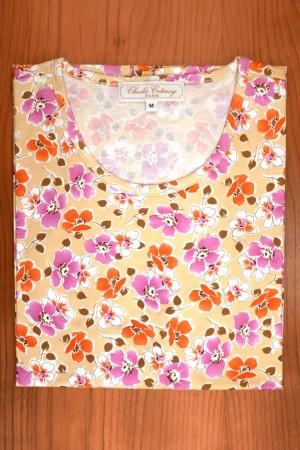 TEE SHIRT COTTON JERSEY, FUSHIA AND ORANGE FLOWERS