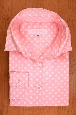 COTTON SATIN, WHITE DOTS ON SOFT PINK