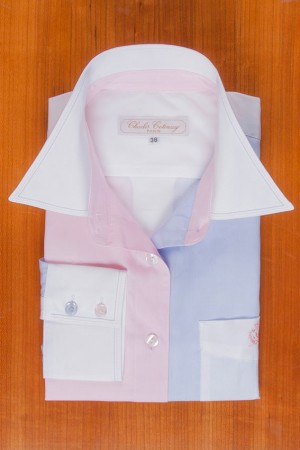 WHITE-BLUE-PINK, LONG SLEEVES