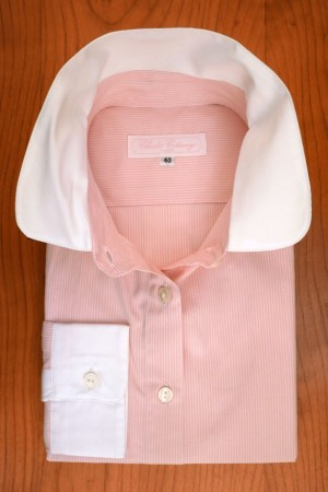 WHITE ROUND COLLAR ON PINK AND WHITE STRIPES