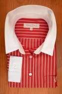 BRICK RED AND WHITE STRIPES, WHITE COLLAR