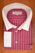 DARSK FUSCHIA AND WHITE STRIPES, WHITE COLLAR