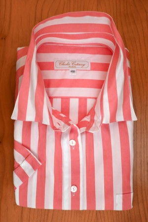 WIDE STRIPES CORAL PINK/WHITE