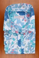 DRESS SHIRT, COTTON SATIN, BLUE FLOWER PRINT