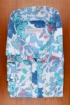 DRESS SHIRT, COTTON SATIN, BLUE FLOWER PRINT