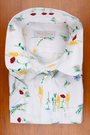 PIECE OF FLOWERED COTTON AND BIRDS