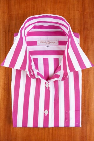 LARGE PLUM AND WHITE STRIPES