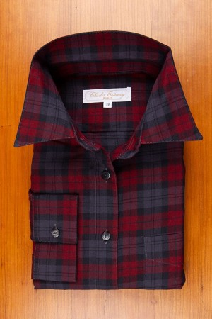 THIN COTTON FLANELL , GREY-BURGUNDY TARTAN