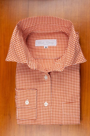 THIN COTTON FLANELL, RUST / WHITE VICHY TILE