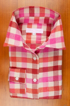 WINTER COTTON FLANELL, CHECKS IN BURGUNDY-OFFWHITE-FUSHIA-RED