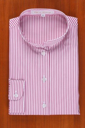 MANDARIN COLLAR, STRIPES FUCHIA / WHITE
