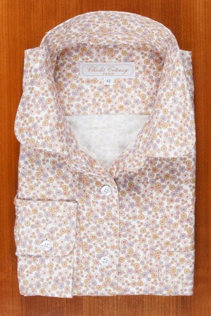 BRUSHED COTTON, ROUND COLLAR, FLOWERS