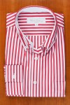 BUTONNED COLLAR, HERMES RED AND WHITE STRIPE
