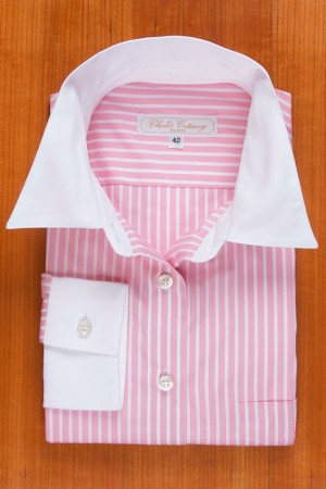 WHITE COLLAR PINK AND WHITE STRIPES