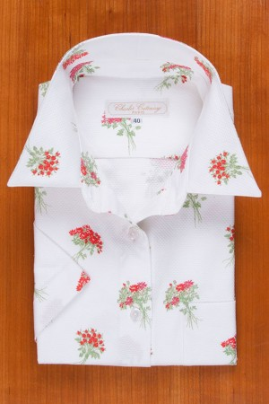 RED BOUQUETS ON COTTON PIQUÉ