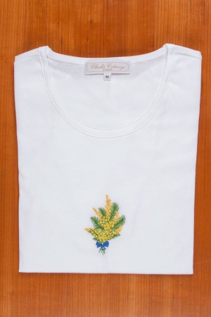 TEE SHIRT, EMBROIDERY: YELLOW MIMOSAS