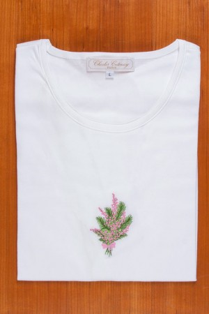 TEE SHIRT, EMBROIDERY: PINK MIMOSAS