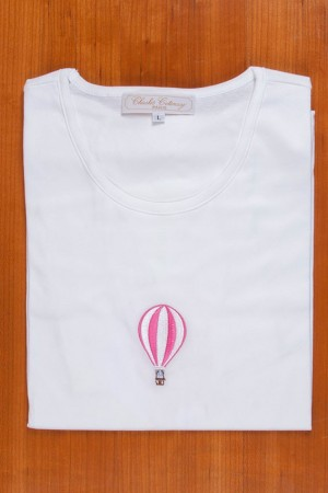 TEE SHIRT, EMBROIDERY: FUSHIA BALLOON