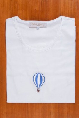 TEE SHIRT, EMBROIDERY: BLUE BALLOON