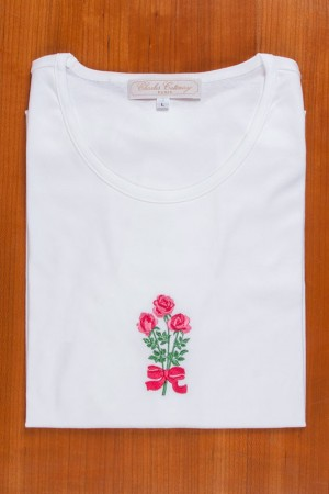 TEE SHIRT, EMBROIDERY: ROSES