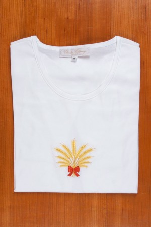 TEE SHIRT, EMBROIDERY, WHEAT EAR