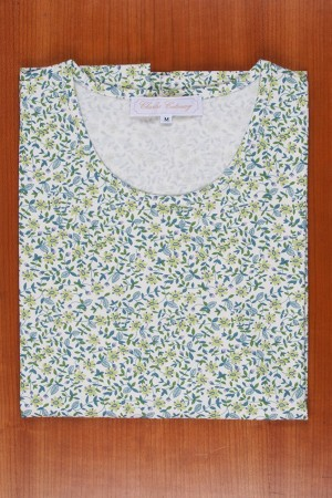 TEE SHIRT LIBERTY, VERY SMALL GREEN FLOWERS
