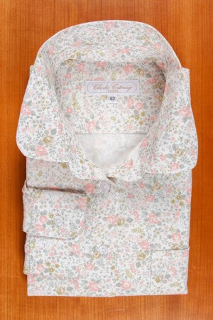 BRUSHED COTTON, ROUND COLLAR, ROSES N°1