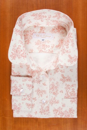 BRUSHED COTTON, ROUND COLLAR, PASTORAL SCENE ,PINK.