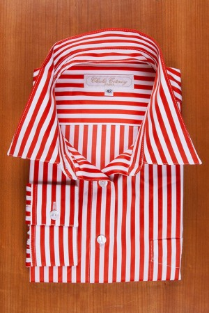RED AND WHITE STRIPES, COTTON SATEEN