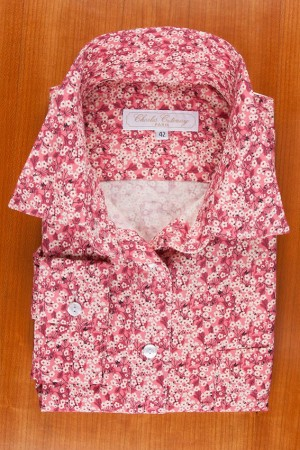 LIBERTY FLANNEL, PINK FLOWERS, POINTED COLLAR