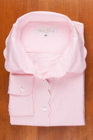 THIN COTTON FLANELL, SCALLOP COLLAR, PINK VICHY