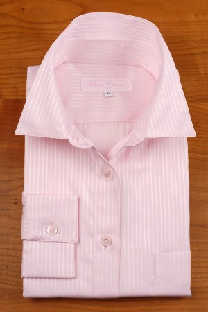 Poplin striped pink tone on tone